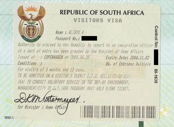 South African Visitors visa